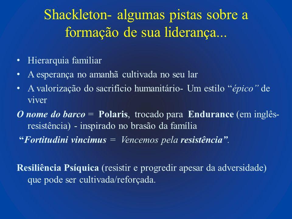 Shackleton- algumas pistas sobre a formação de sua liderança...