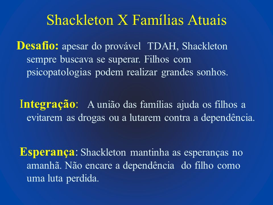 Shackleton X Famílias Atuais