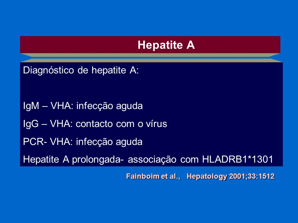 Hepatite A Diagnóstico de hepatite A: IgM – VHA: infecção aguda