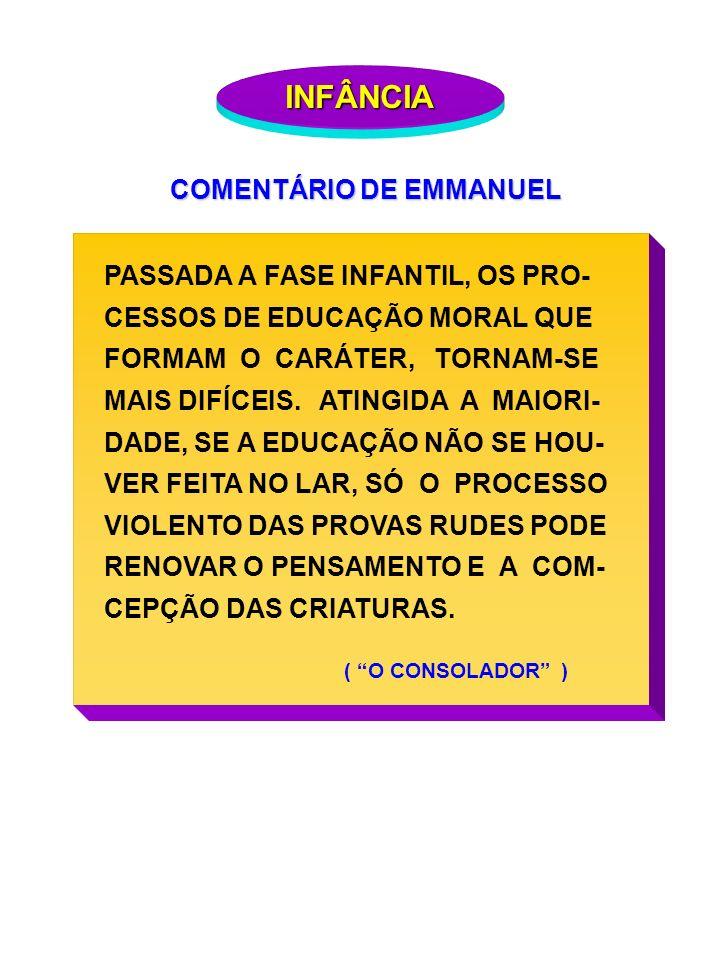 INFÂNCIA COMENTÁRIO DE EMMANUEL PASSADA A FASE INFANTIL, OS PRO-