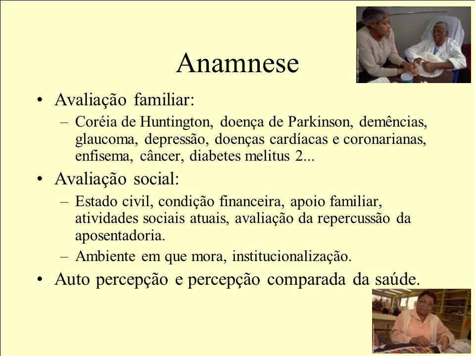 Anamnese Avaliação familiar: Avaliação social: