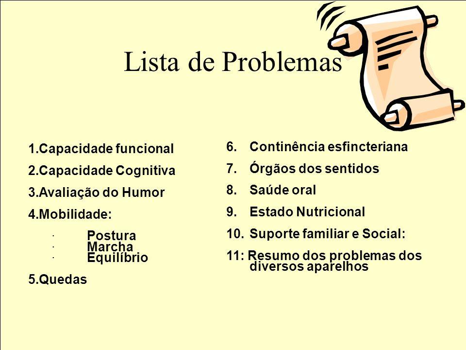 Lista de Problemas Capacidade funcional Continência esfincteriana