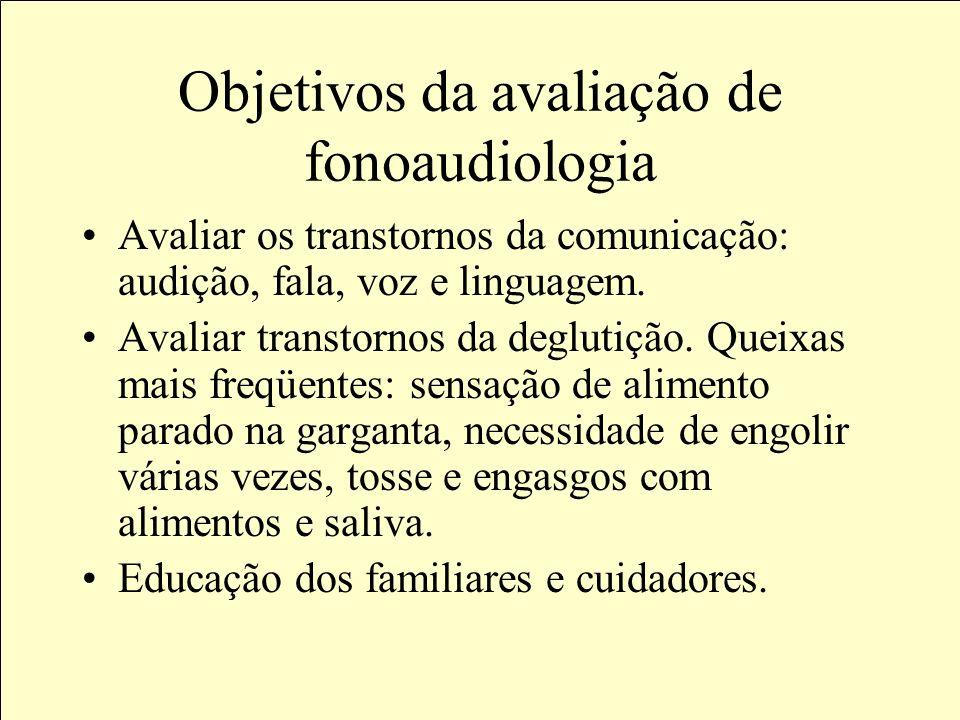 Objetivos da avaliação de fonoaudiologia