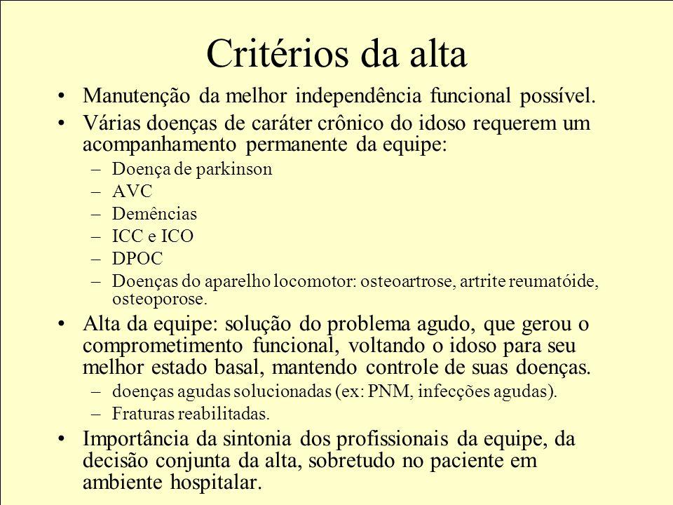 Critérios da altaManutenção da melhor independência funcional possível.