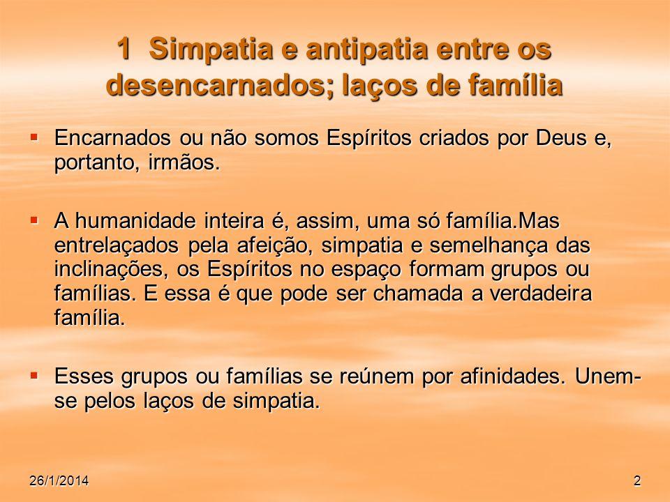 1 Simpatia e antipatia entre os desencarnados; laços de família