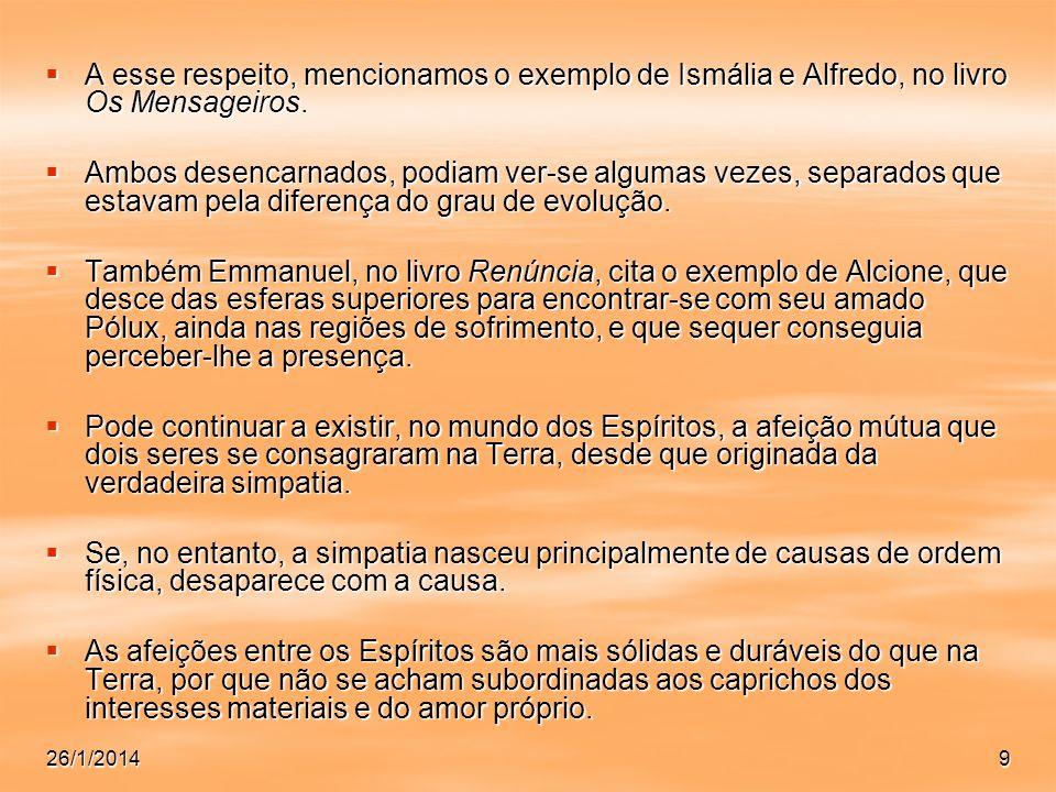 A esse respeito, mencionamos o exemplo de Ismália e Alfredo, no livro Os Mensageiros.