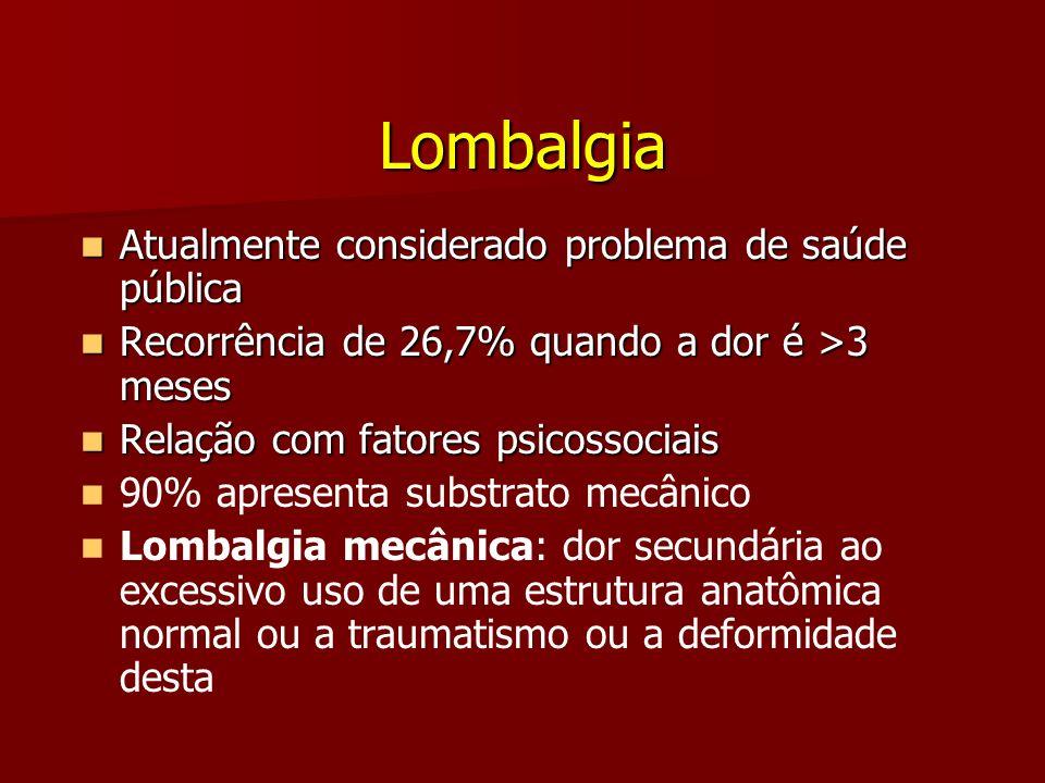 Lombalgia Atualmente considerado problema de saúde pública