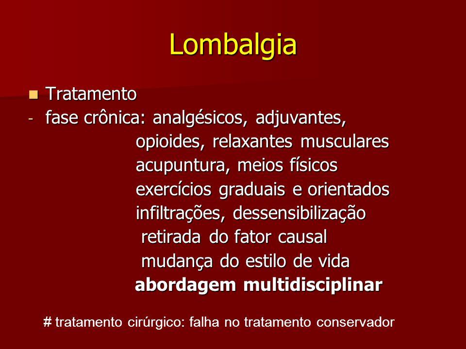 Lombalgia Tratamento fase crônica: analgésicos, adjuvantes,