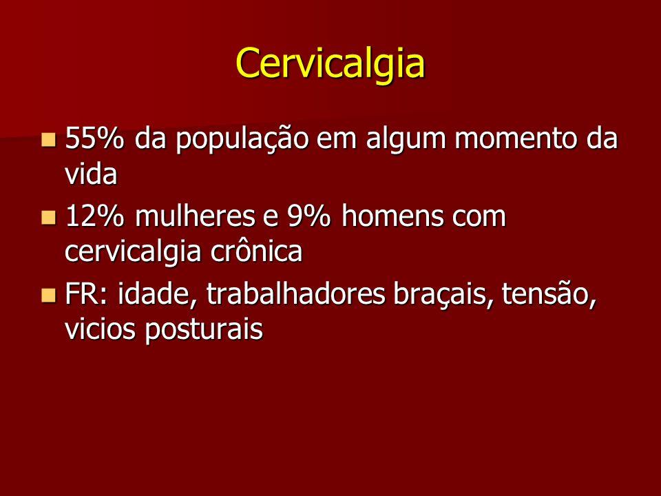 Cervicalgia 55% da população em algum momento da vida