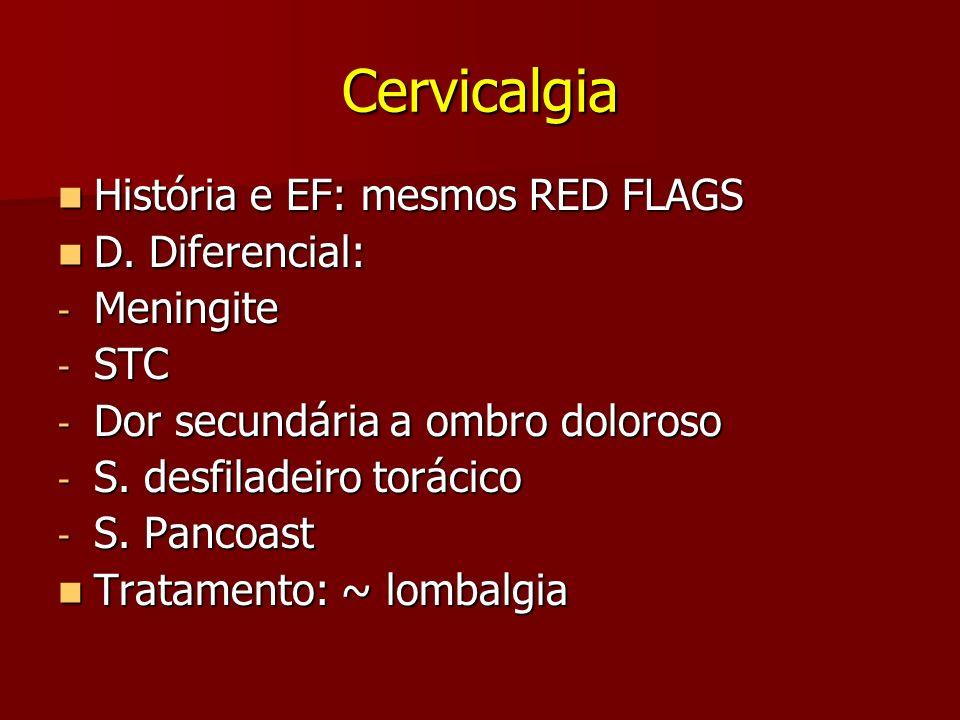 Cervicalgia História e EF: mesmos RED FLAGS D. Diferencial: Meningite