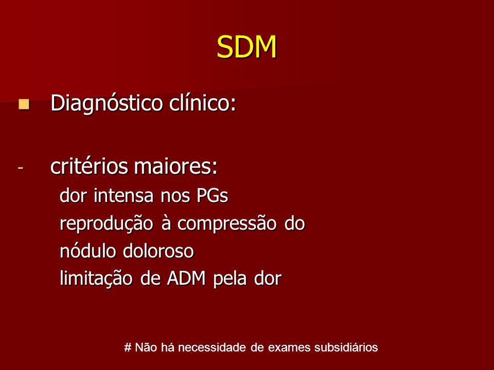 SDM Diagnóstico clínico: critérios maiores: dor intensa nos PGs