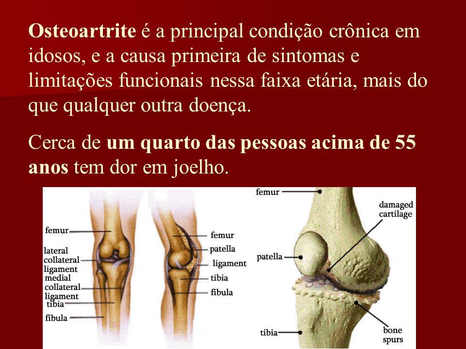 Osteoartrite é a principal condição crônica em idosos, e a causa primeira de sintomas e limitações funcionais nessa faixa etária, mais do que qualquer outra doença.