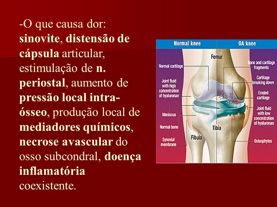 -O que causa dor: sinovite, distensão de cápsula articular, estimulação de n.