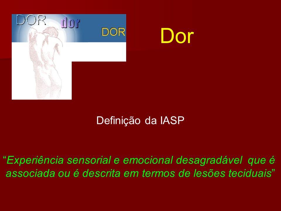 Dor Definição da IASP. Experiência sensorial e emocional desagradável que é.