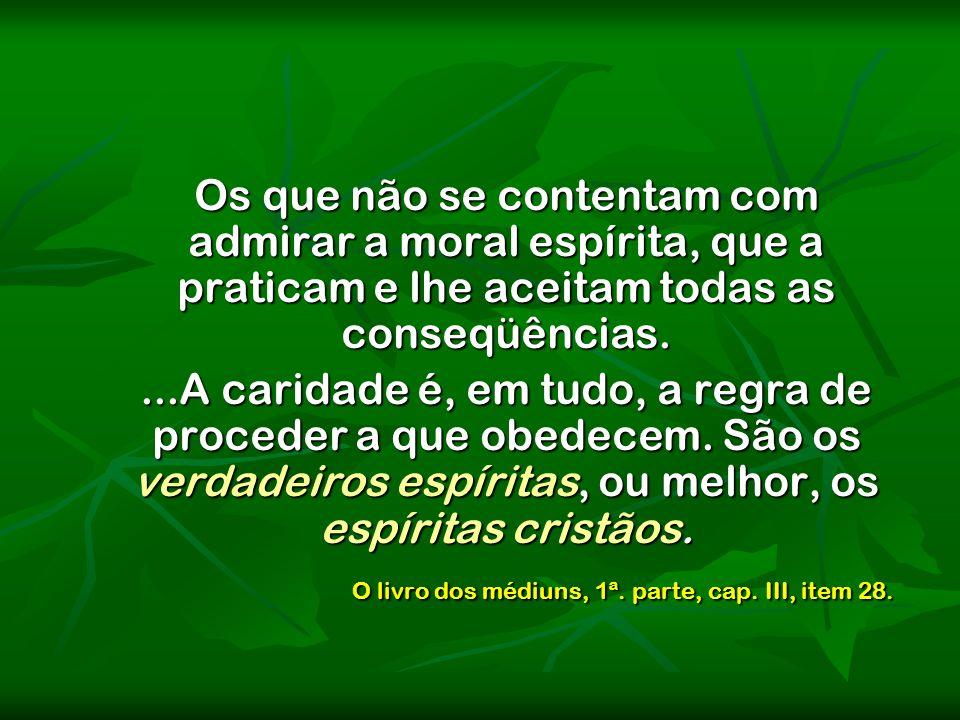 Os que não se contentam com admirar a moral espírita, que a praticam e lhe aceitam todas as conseqüências.
