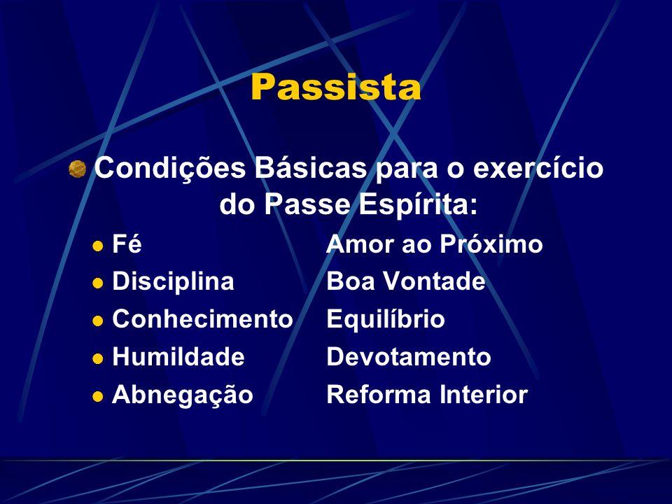 Condições Básicas para o exercício do Passe Espírita:
