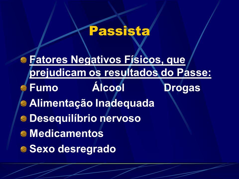Passista Fatores Negativos Físicos, que prejudicam os resultados do Passe: Fumo Álcool Drogas. Alimentação Inadequada.