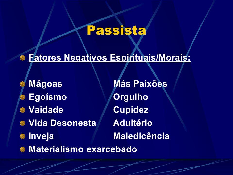 Passista Fatores Negativos Espirituais/Morais: Mágoas Más Paixões
