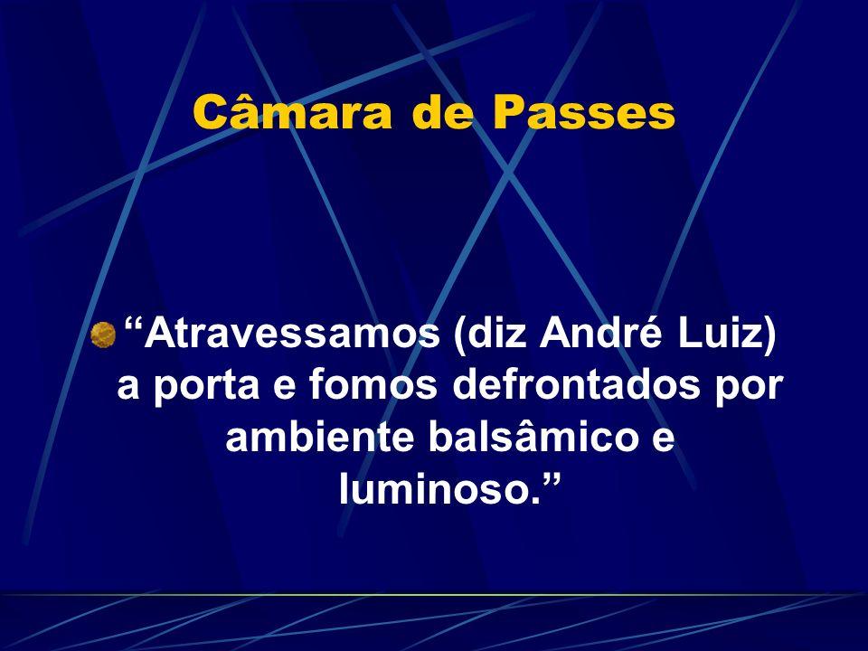 Câmara de Passes Atravessamos (diz André Luiz) a porta e fomos defrontados por ambiente balsâmico e luminoso.