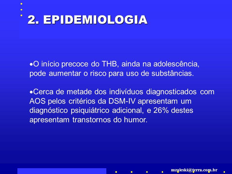 2. EPIDEMIOLOGIA O início precoce do THB, ainda na adolescência, pode aumentar o risco para uso de substâncias.