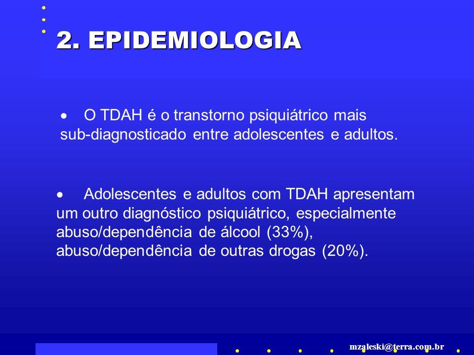2. EPIDEMIOLOGIA · O TDAH é o transtorno psiquiátrico mais