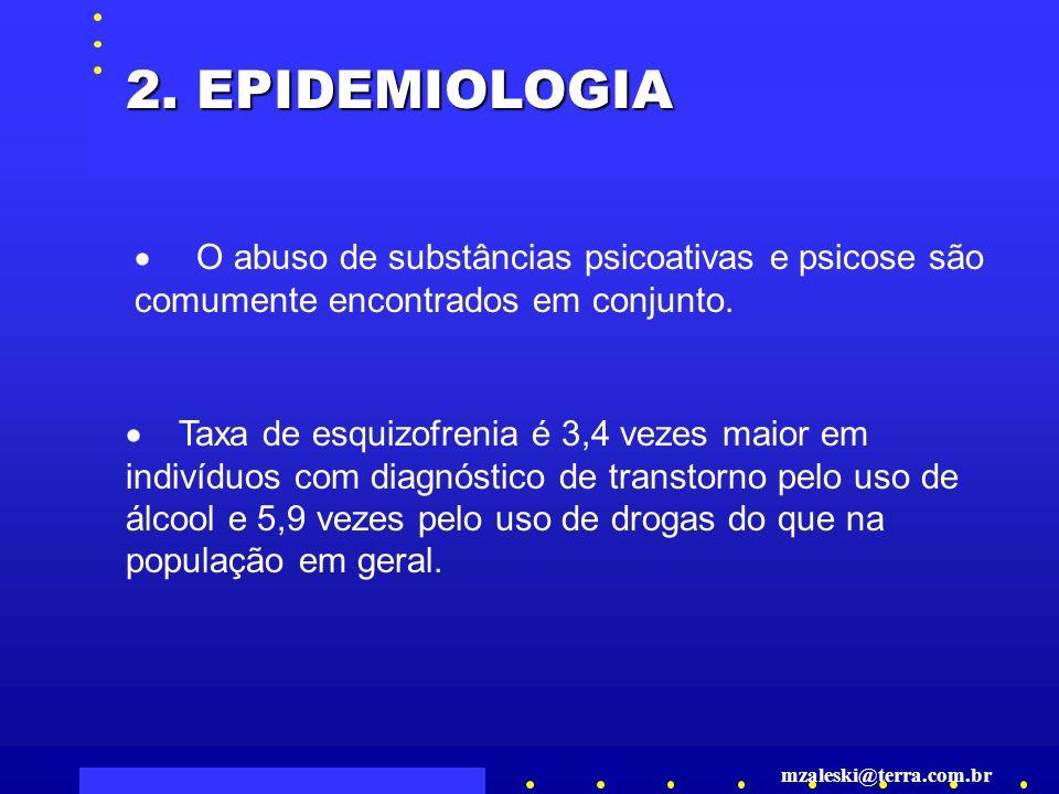 2. EPIDEMIOLOGIA · O abuso de substâncias psicoativas e psicose são