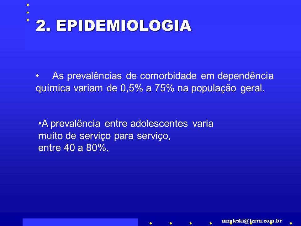 2. EPIDEMIOLOGIA As prevalências de comorbidade em dependência