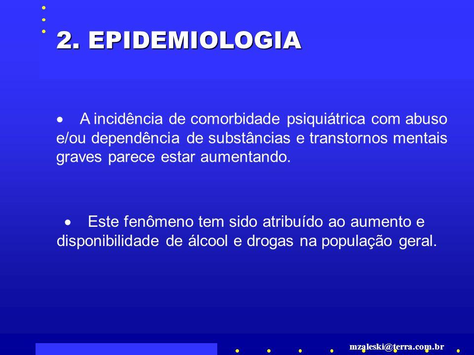 2. EPIDEMIOLOGIA · A incidência de comorbidade psiquiátrica com abuso