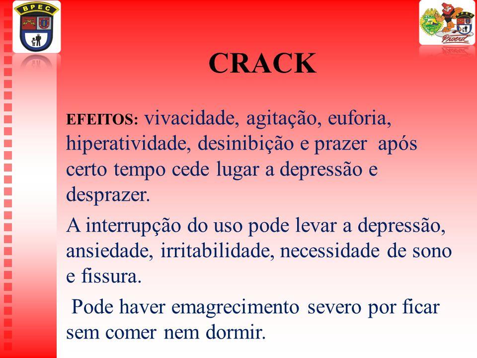 CRACK EFEITOS: vivacidade, agitação, euforia, hiperatividade, desinibição e prazer após certo tempo cede lugar a depressão e desprazer.