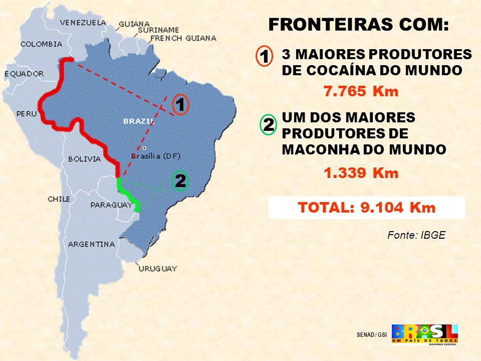 FRONTEIRAS COM: 1 1 2 2 7.765 Km 1.339 Km TOTAL: 9.104 Km