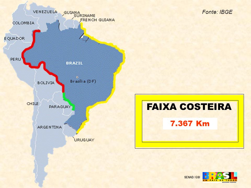 Fonte: IBGE FAIXA COSTEIRA 7.367 Km SENAD / GSI
