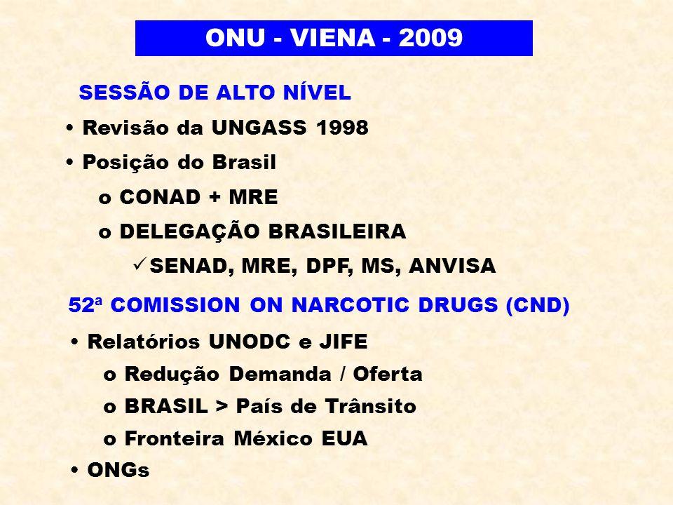 ONU - VIENA - 2009 SESSÃO DE ALTO NÍVEL Revisão da UNGASS 1998