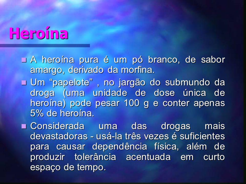 Heroína A heroína pura é um pó branco, de sabor amargo, derivado da morfina.
