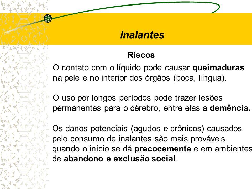 Inalantes Riscos O contato com o líquido pode causar queimaduras