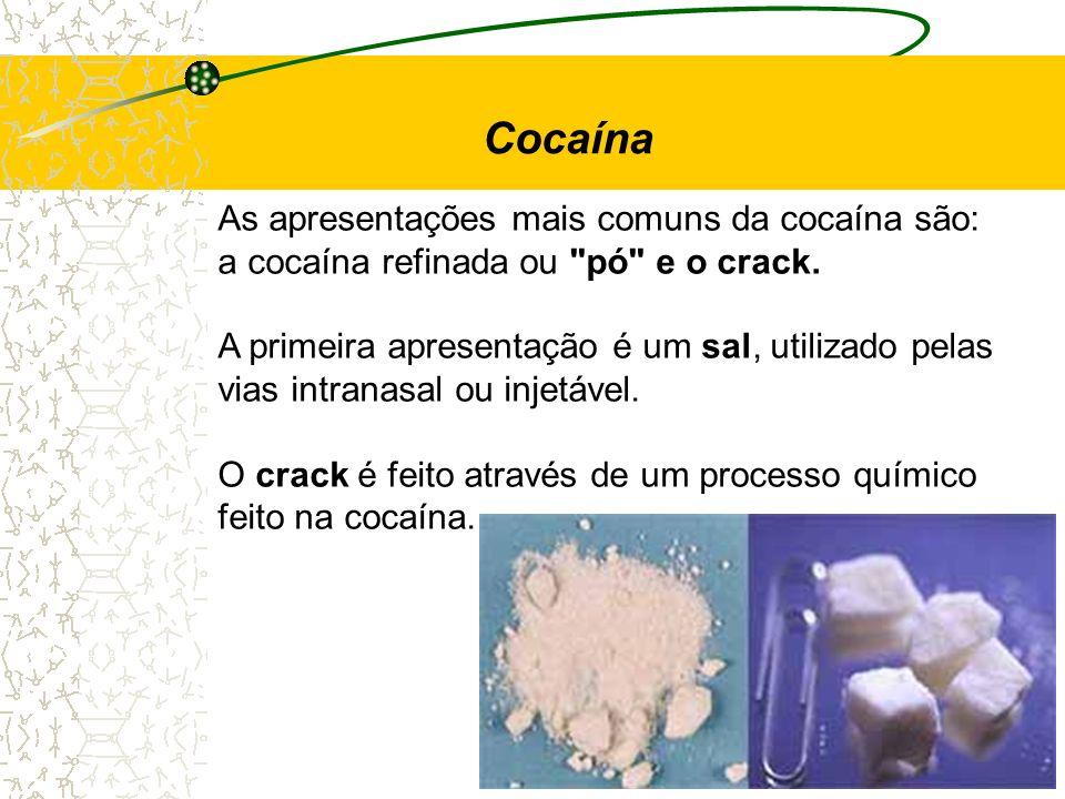 Cocaína As apresentações mais comuns da cocaína são: