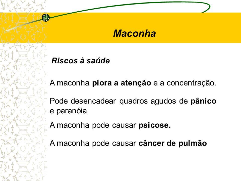 Maconha Riscos à saúde A maconha piora a atenção e a concentração.