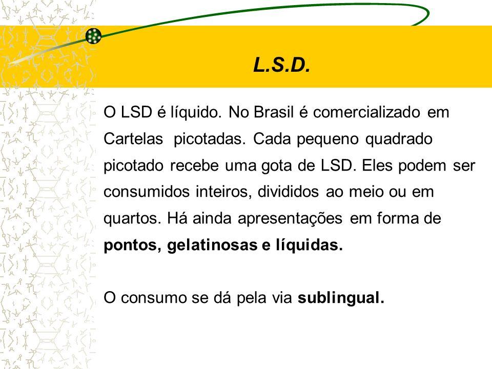 L.S.D. O LSD é líquido. No Brasil é comercializado em