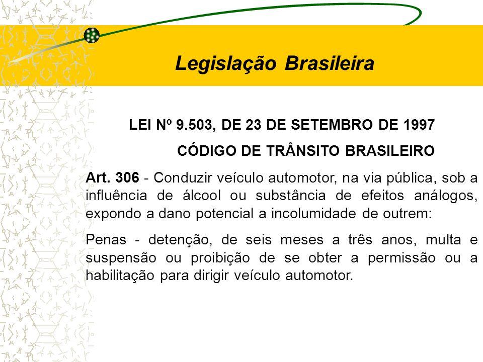Legislação Brasileira CÓDIGO DE TRÂNSITO BRASILEIRO