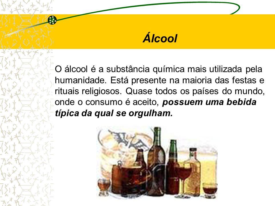 Álcool O álcool é a substância química mais utilizada pela