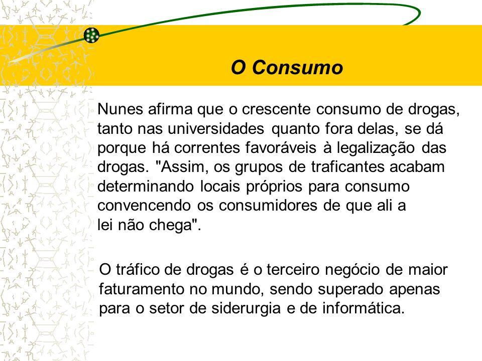 O Consumo Nunes afirma que o crescente consumo de drogas,