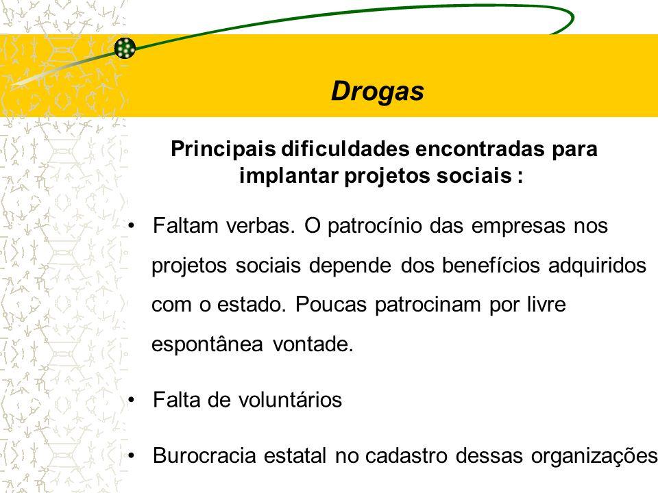 Principais dificuldades encontradas para implantar projetos sociais :