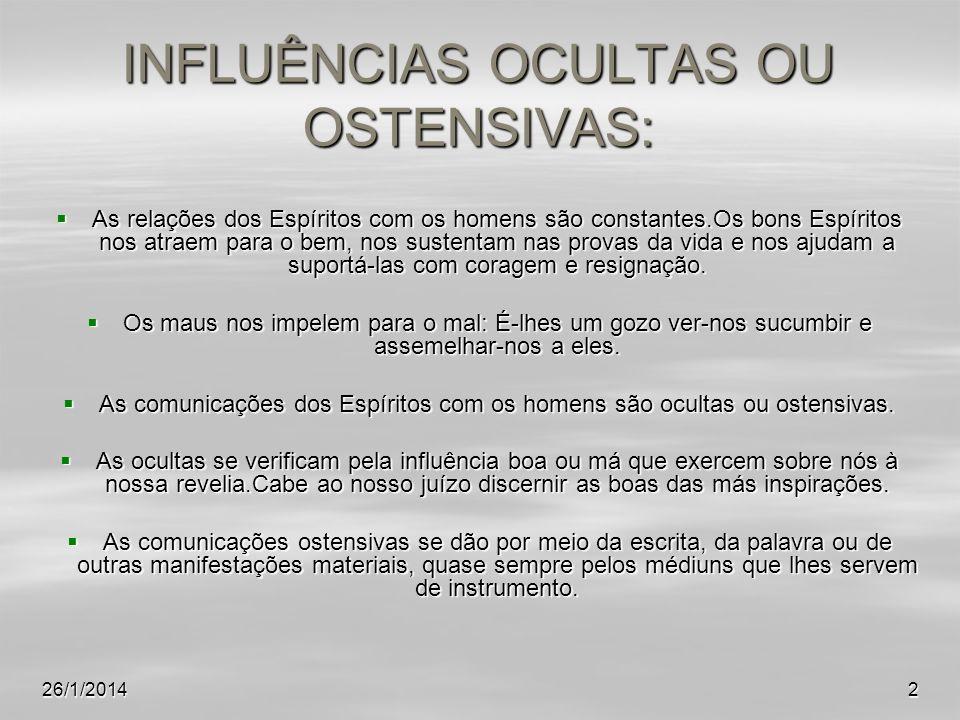 INFLUÊNCIAS OCULTAS OU OSTENSIVAS: