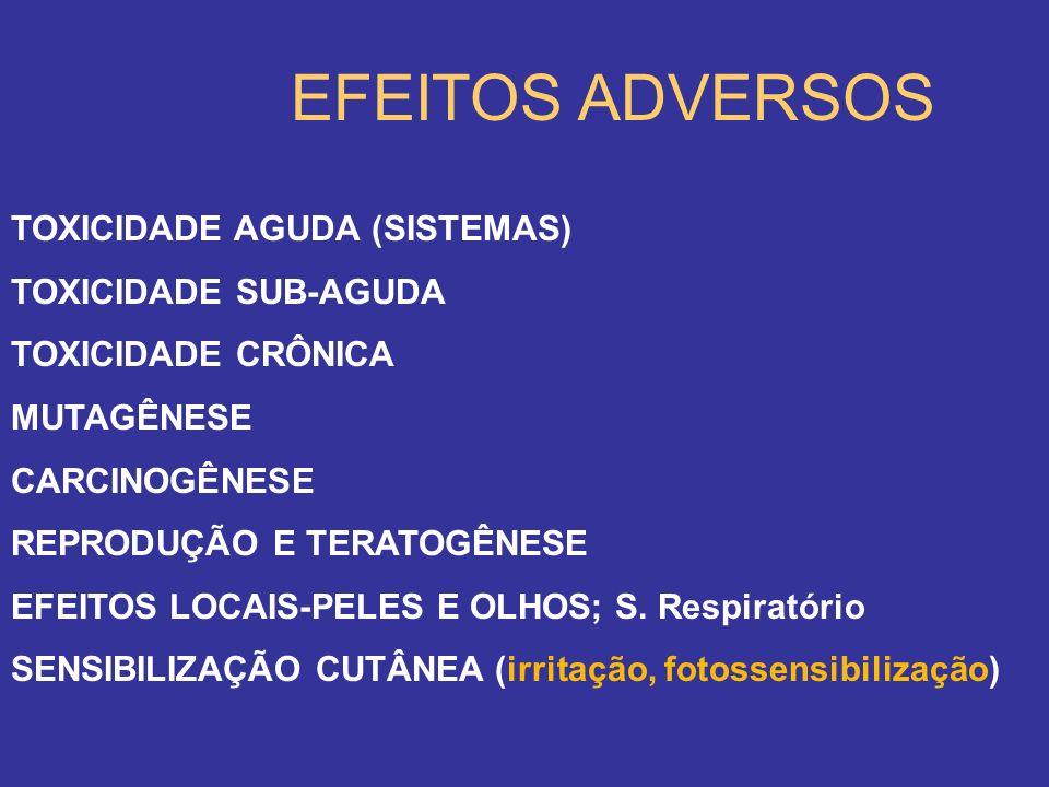EFEITOS ADVERSOS TOXICIDADE AGUDA (SISTEMAS) TOXICIDADE SUB-AGUDA