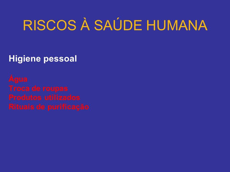 RISCOS À SAÚDE HUMANA Higiene pessoal Água Troca de roupas
