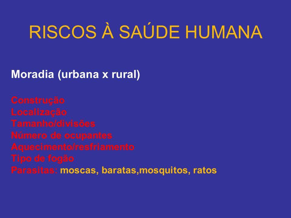 RISCOS À SAÚDE HUMANA Moradia (urbana x rural) Construção Localização