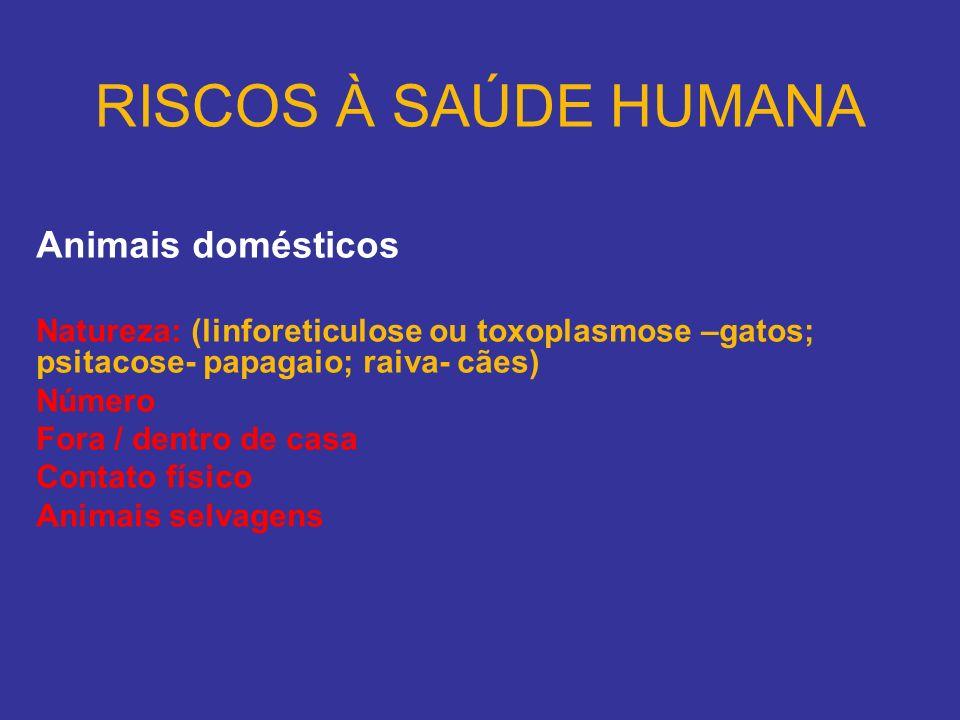 RISCOS À SAÚDE HUMANA Animais domésticos