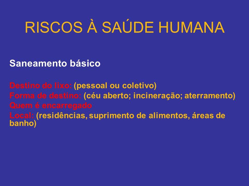 RISCOS À SAÚDE HUMANA Saneamento básico