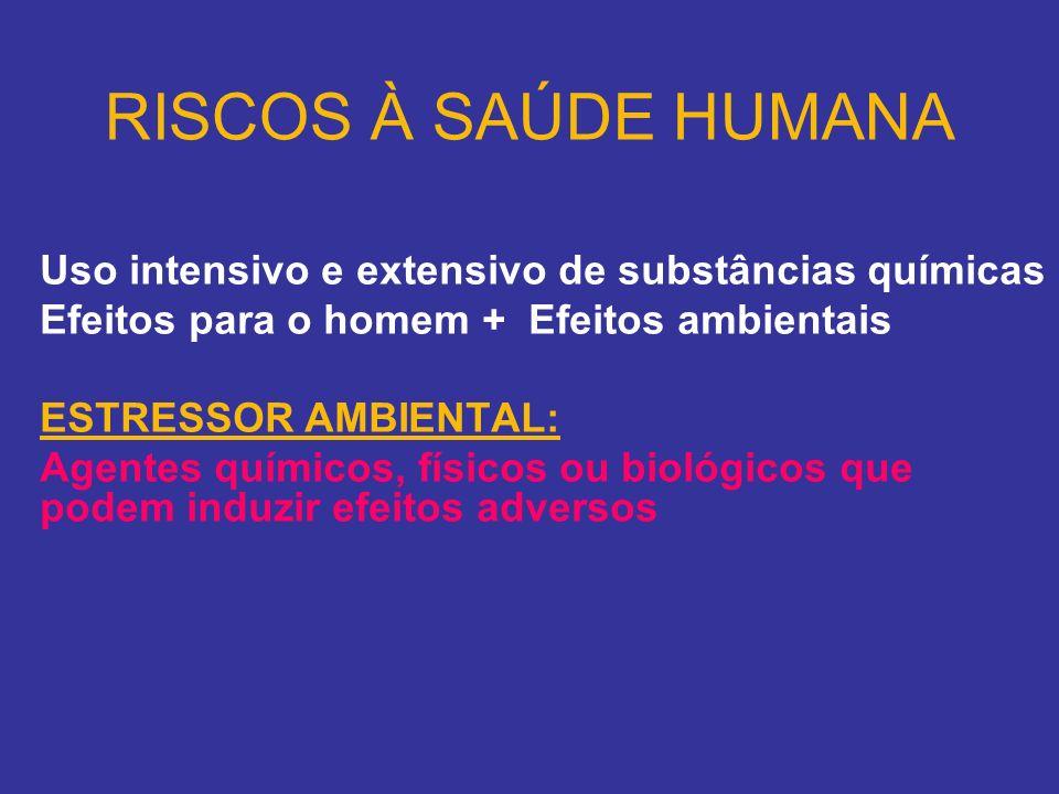 RISCOS À SAÚDE HUMANA Uso intensivo e extensivo de substâncias químicas. Efeitos para o homem + Efeitos ambientais.