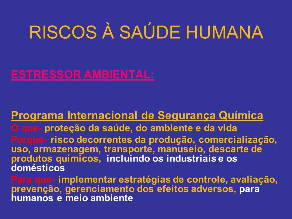 RISCOS À SAÚDE HUMANA ESTRESSOR AMBIENTAL: