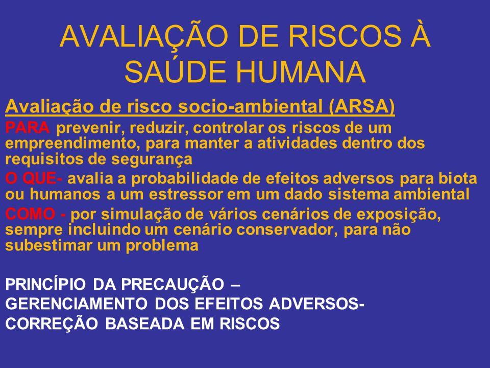 AVALIAÇÃO DE RISCOS À SAÚDE HUMANA